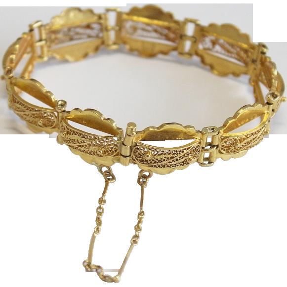 Vintage 22k High Carat Gold Filigree Bracelet Very 1950 S The Swan Collection Ruby Lane