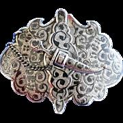 Russian XIXth Century Silver Niello Belt Buckle 84 Standard Caucasus