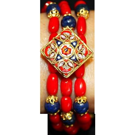 Unique Vintage Pristine Micromosaic Brooch & Bracelets in Coral Lapis & Vermeil