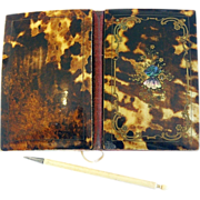 Faux Tortoise Shell, Gold Guilted Bronze Paua Shell inlaid Carnet de Bal – Dance Card – Napoleon III Era.