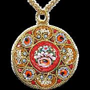 Vintage Micro Mosaic Millefiori Round Pendant W Chain No5 New Old Stock Rare
