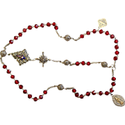 Antique Ruby Crystal Bavarian Filigree Silver Catholic Rosary with Ceramic Enameled Crucifix and Sterling Medals