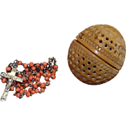 Vintage Coral and Sterling Catholic Rosary in Carved Corozo Nut Egg Shaped box – Very Rare - Exquisite