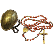 Vintage Coral and Vermeil Catholic Rosary with Antique Vermeil Egg Shaped Chained Box – Very Rare - Exquisite