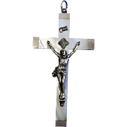 Dated 1890 Exceptional French Mother of Pearl & Sterling Cross – Crucifix – Pristine