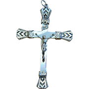 French Mother of Pearl & Sterling Cross – Crucifix – Early Art Deco period - Rare