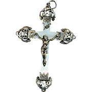 Late 19th Century French Mother of Pearl and Sterling Silver Cross - Crucifix with stylized I.H.S. Monogram of Christ