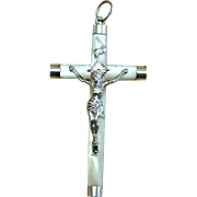 Mother of Pearl and Sterling Silver Plain Cross - Crucifix.  French 19th Century