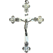 French 19th Century Rare and Impressive Mother of Pearl Sterling Large Cross - Unique