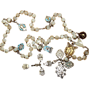 Antique Very Rare Mother Of Pearl and Sterling Catholic Rosary, Many Medals – 1st decade 20th Century, early Art Deco - Heirloom