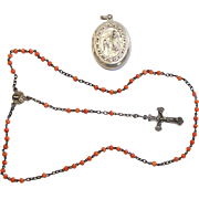 Vintage Coral and Sterling Silver Catholic Rosary In Wearable Lourdes Locket  – Rare – Exquisite.