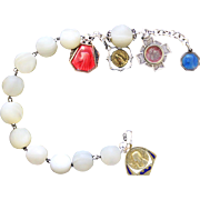 1920's M.O.P Unusual Large Bead Rosary Bracelet with Very Rare Reliquary, Sterling Silver and Enamel Medals