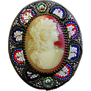 Late XIXth Century Exceptional Shell Cameo Brooch and Pendant in Micro mosaic Frame – Rare and Exquisite