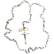 1920's Vintage Mother of Pearl and Sterling Silver Catholic Large First Communion Rosary with Rare Medals