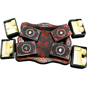 Victorian MOP Inlaid Papier Maché Set of 4 Chip Boxes on an assorted tray.