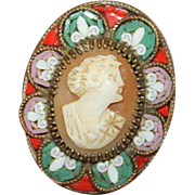 Vintage 1920's Micro Mosaic Brooch with Shell Cameo