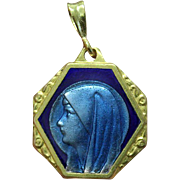 Vintage Vermeil Lourdes Holy Mary Blue Enameled on Both Sides Large Medal with Chain