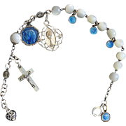 Early 1900's M.O.P and Sterling Silver Rosary Bracelet with Very Rare Sterling Silver and Enamel Medals
