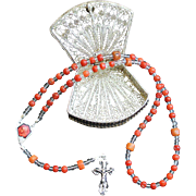 Vintage Coral & Sterling Mini Catholic Rosary With Filigree Sterling Silver Box