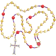 Catholic Rosary Rosenkranz Vintage Butterscotch Baltic Amber Coral 1960's Micromosaic Cross