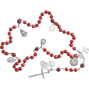 1920's Vintage Carnelian and Sterling Silver Catholic Rosary with Many Pilgrimage Medals - Rare