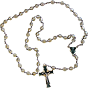 Art Deco Vintage Crystal, Sterling Silver and Enamel Catholic Rosary - High Rarity