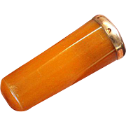 Butterscotch Amber & 18 K. Gold, Vintage Monogrammed Cased Small Cigar Holder