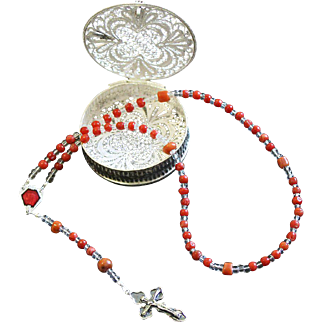 Vintage Coral & Sterling Mini Catholic Rosary With Filigree Sterling Silver Bo