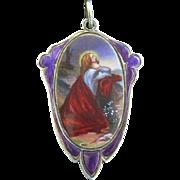 1930's Vintage Medal Hand Painted & Enameled on Sterling Silver Christ's Agony at Gethsemane