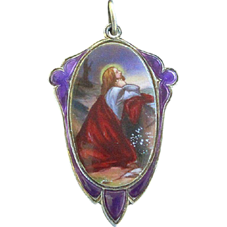1930's Vintage Medal Hand Painted & Enameled on Sterling Silver Christ's Agony at Gethsemane