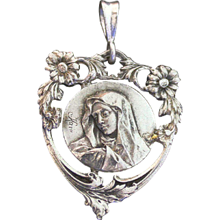 1940's Vintage Sterling Silver Medal of the Pieta signed KARO