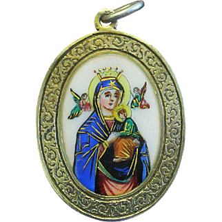 1920's Vintage Medal Our Lady of Perpetual Help Hand Painted Sterling Silver