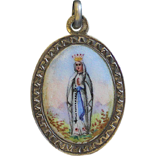 1930's Vintage Medal Mary Queen of Heaven Hand Painted Sterling Silver