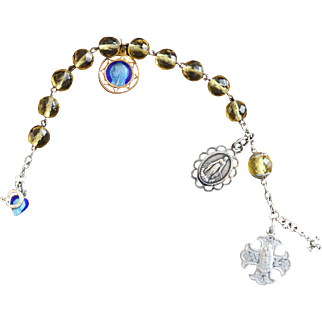 1920's Crystal and Sterling Rosary Bracelet with Very Rare Sterling Silver and Enamel Medals