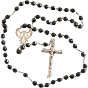 Early XXth Century Faceted Jet & Sterling Impressive Catholic Rosary - High Rarity