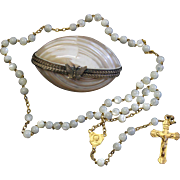 Vintage MOP and Vermeil Catholic Rosary in Ormolu Egg Shaped Shell box – Very Rare - Exquisite