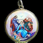Vintage Enamel on Silver Locket Pendant Swiss Made early 1900's Coronation of Mary Miniature - High Rarity