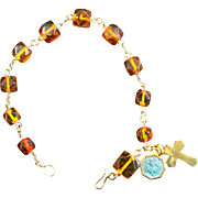 Catholic Rosary Bracelet Vintage Honey Amber and Vermeil St Christopher Enamel Vintage medal
