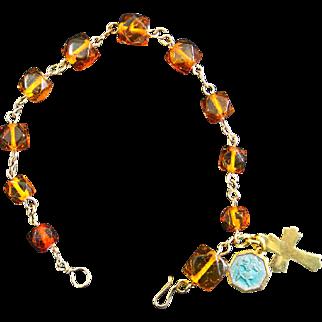 Catholic Rosary Bracelet Vintage Honey Amber and Vermeil St Christopher Enamel Vintage medal