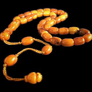 Prayer Beads Tesbih Antique Butterscotch Genuine Amber - Unique and XXR Museum Grade.