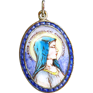 1930's Vintage Medal of Mary The Immaculate Conception Hand Painted Porcelain on Copper