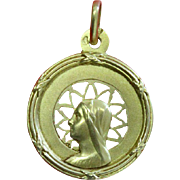 Vintage 18K. Open Work Gold Medal of The Virgin Mary - 1940's