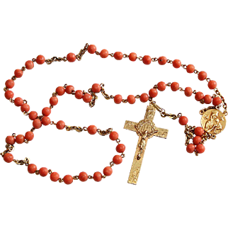 Vintage Coral and Gold Filled Catholic Rosary in Sea Shell box – Very Rare - Attractive and Highly Collectible