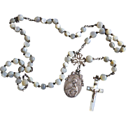 Vintage MOP and Sterling Catholic Rosary in Ormolu Egg Shaped Shell box – Very Rare - Exquisite