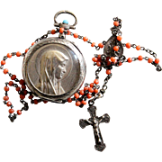 Vintage Coral and Sterling Catholic Rosary in Sterling and Gold Transformed Pocket Watch Case - Unique