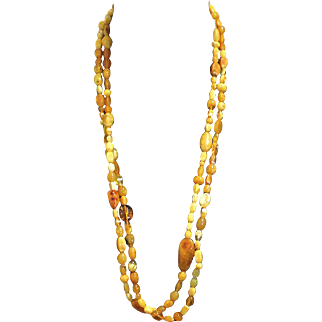 Vintage Genuine Baltic Butterscotch Amber Long Flapper Necklace - Tested - Rare