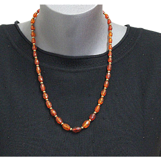 Genuine Baltic Gold Amber Faceted and Graduated Necklace - Tested - Vintage Item