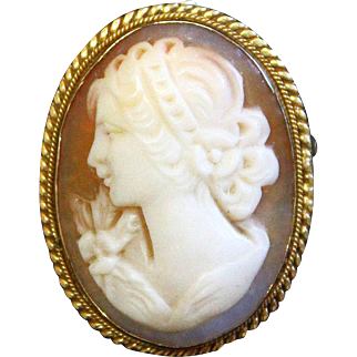Vintage Hand Carved Shell Cameo Brooch / Pendant in Vermeil