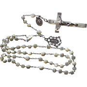 Late 19th Century Mother of Pearl and Sterling Silver Catholic First Communion Rosary with Old Sterling Medals
