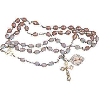 Antique Genuine SAPHIRET and Sterling Unique Catholic Rosary - Top Rarity - Heirloom